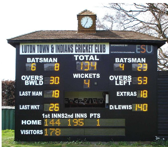 Luton Town & Indians CC host Befordshire county games. The bottom section shows bowlers and overs during one day games and displays messages and adverts to raise revenue for the club.