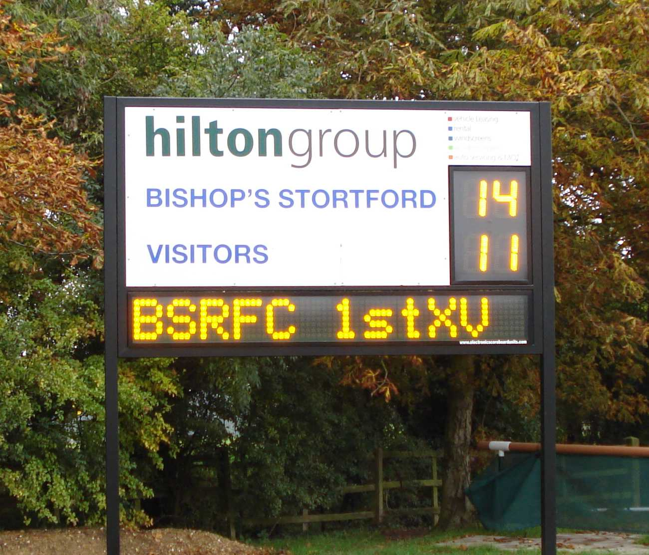 ustom electronic rugby scoreboard for Bishop Stortford RFC with alpha numeric panel to show messages or adverts