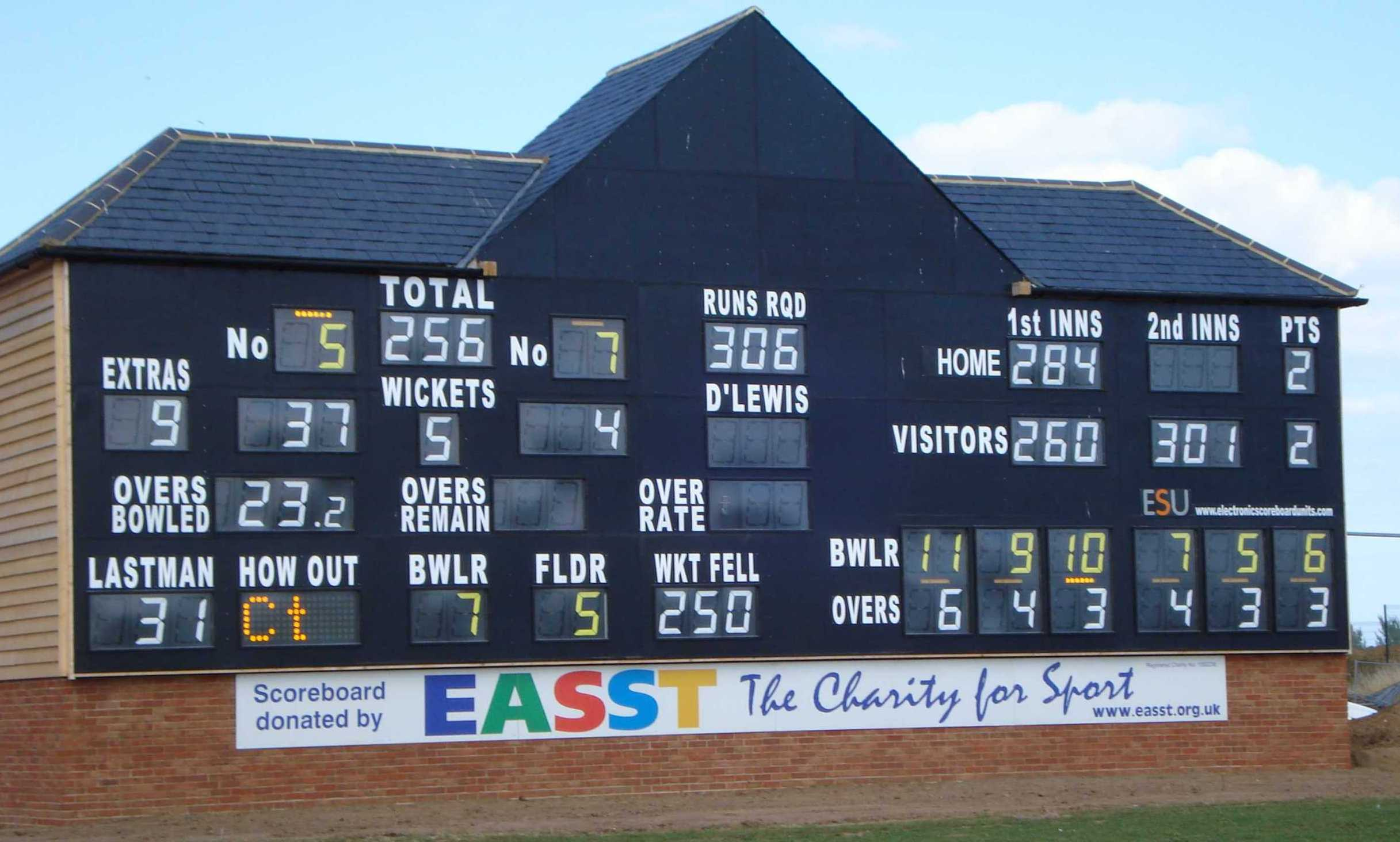 Garon Park - County standard scoreboard to enable Essex CCC to play there during county ground redevelopment