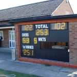 Horspath CC - Existing apertures for mechanical scorers glazed before LED digits fitted.