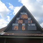 Insertion of extra gable into roof to accommodate scoreboard at North Crawley CC