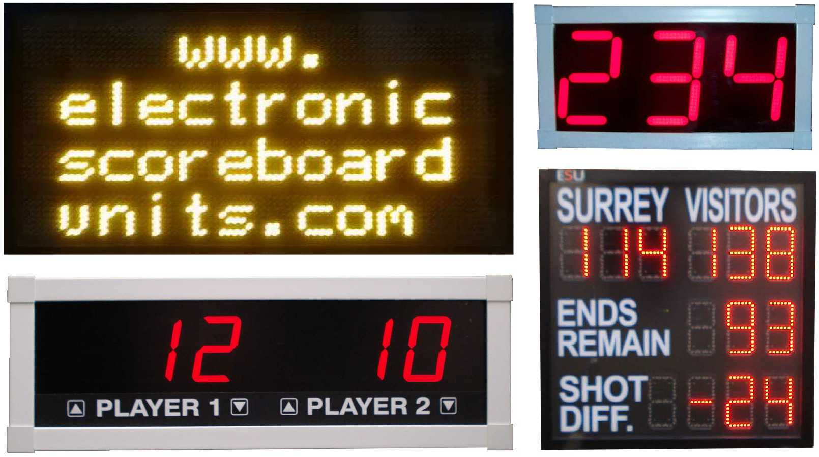 Various electronic scoreboards: dot matrix display, pool scoreboard, counter, custom bowls scoreboard