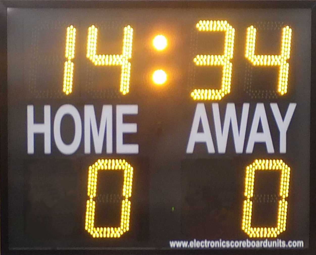 Soccer scoreboard with match timer