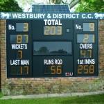 Solar powered electronic cricket scoreboard