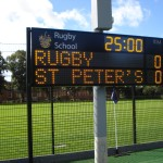 Electronic Rugby scoreboard with team names